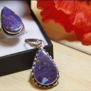 Beautiful Purple Copper Turquoise Ring&Pendant Set